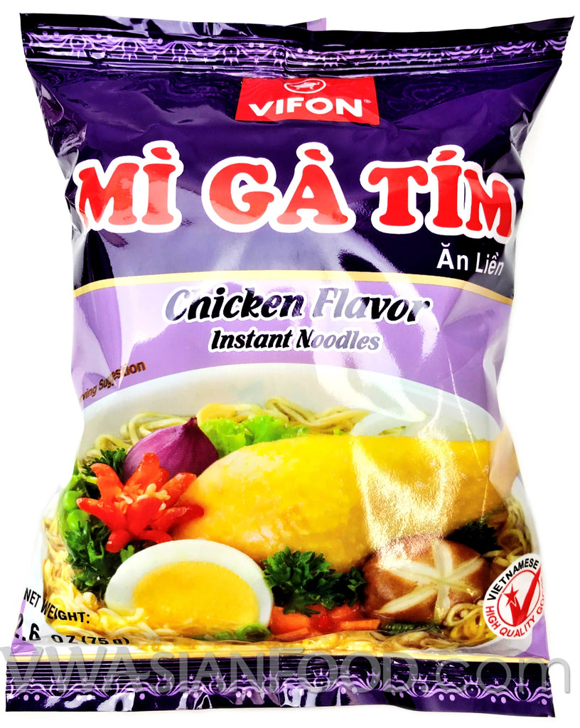 Vifon Chicken Instant Noodles (Mi Ga Tim) 2.5 oz, 30-Bags (3-Packs)