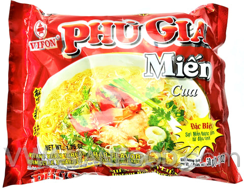 Vifon Crab Bean Thread (Phu Gia Mien Cua) 2.1 oz, 12-Bags (6-Packs)