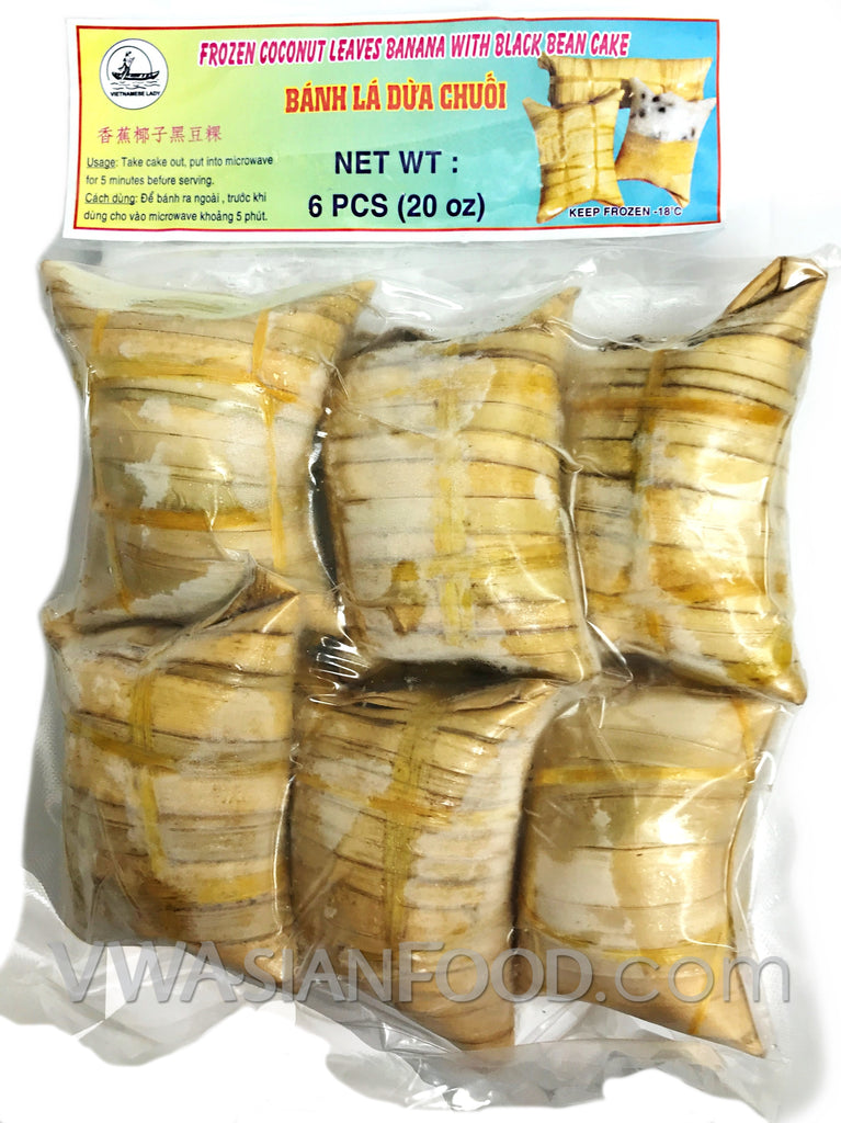 Vietnamese Lady Frozen Coconut Leaves Banana Cake (Bánh Chuối Lá Dừa), 6-Pc, 20 oz (24-Count)