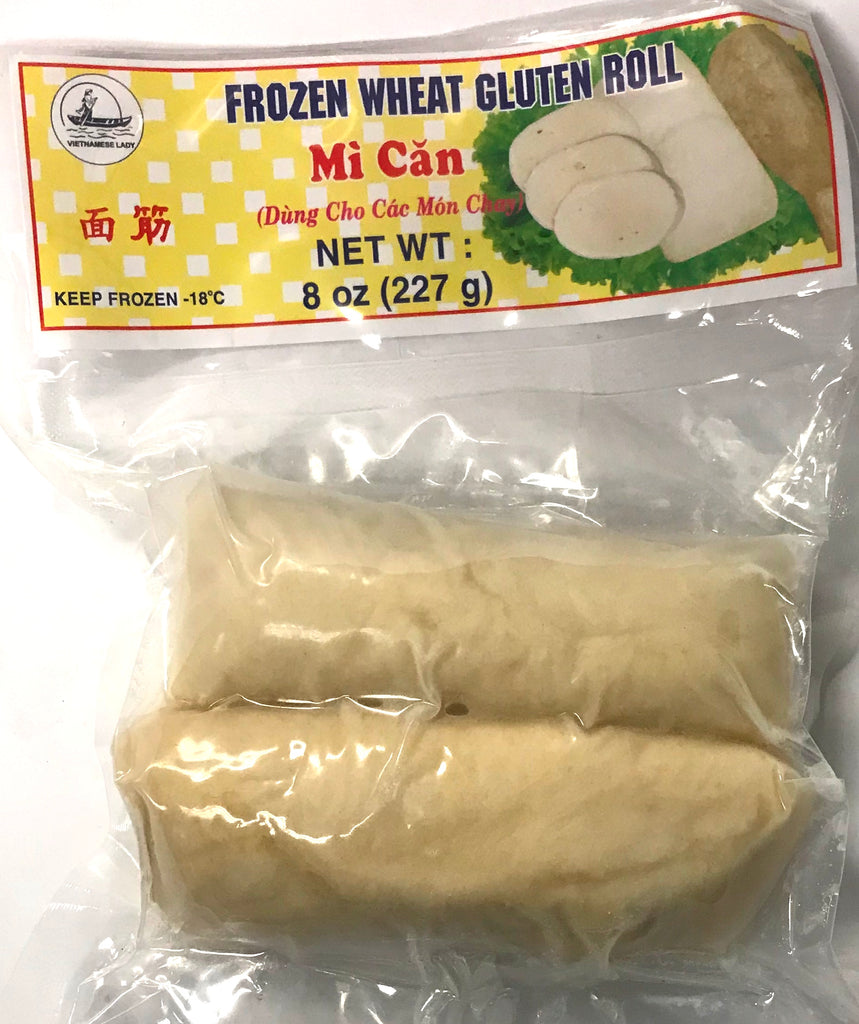 Vietnamese Lady Frozen Wheat Gluten Roll (Mì Căn, 8 oz (50-Count)