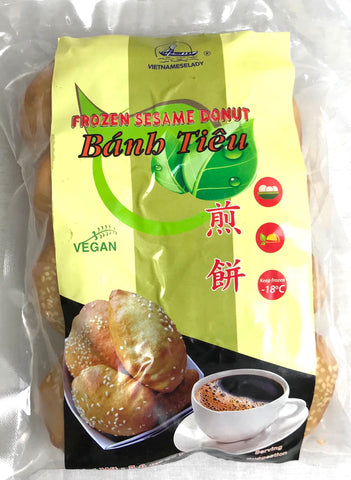 Vietnamese Lady Frozen Sesame Donut Vegan 8 Pieces, 5.6 oz (20-Count)