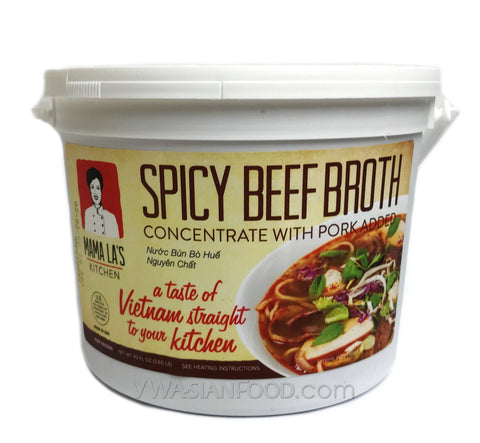 Mama La Spicy Beef Broth Concentrate with Pork (Nước Bún Bò Huế) 2.65 LB (12-Count)