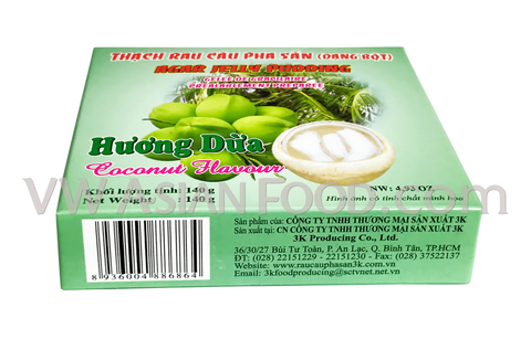 3K Huong Dua Agar Jelly Pudding (Coconut Flavor) 4.93 oz (60-Count)
