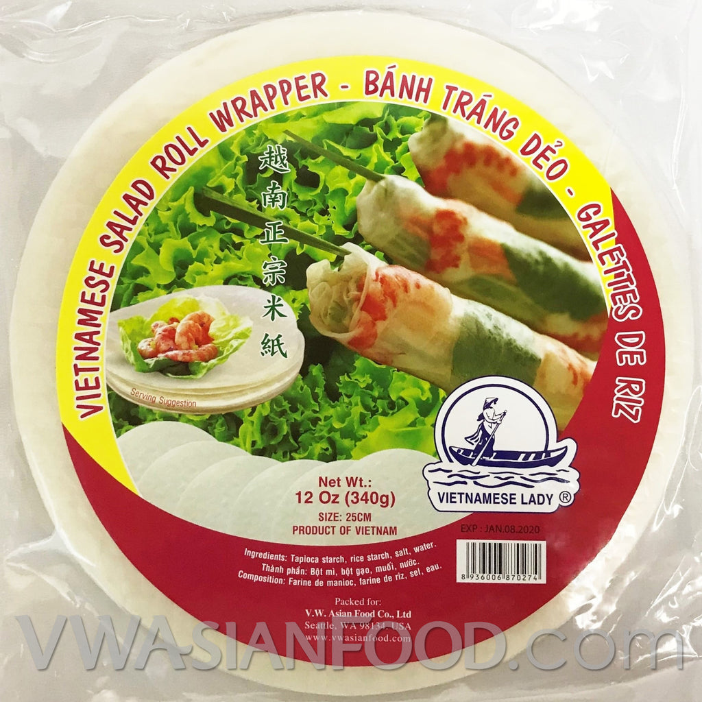 Vietnamese Lady Salad Roll Wrapper Rice Paper (Bag-25cm), 12 oz (40-Count)