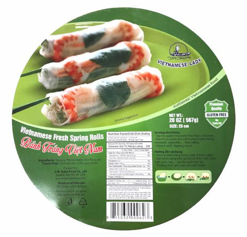 Vietnamese Lady Fresh Spring Rolls (Box-25cm), 20 oz (24-Count)