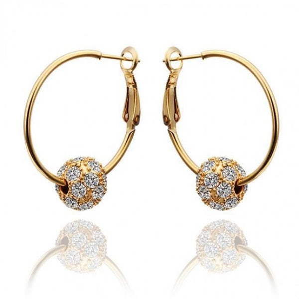 Ball in a Hoop 18K Yellow Gold Plated Earrings