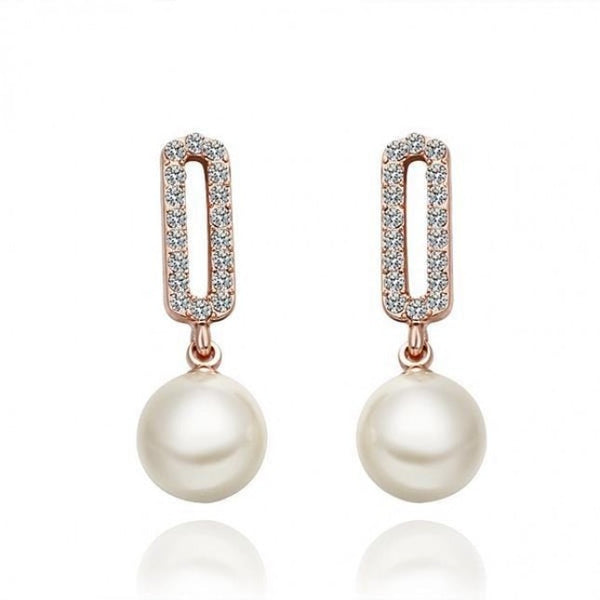 Beleza Pearl 18K Rose Gold Plated Dangling Earrings