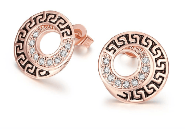 Greek 18K Rose Gold Plated Stud Earrings