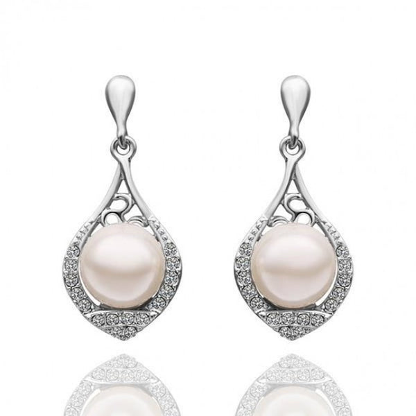 Monica Pearl 18K White Gold Plated Dangling Earrings