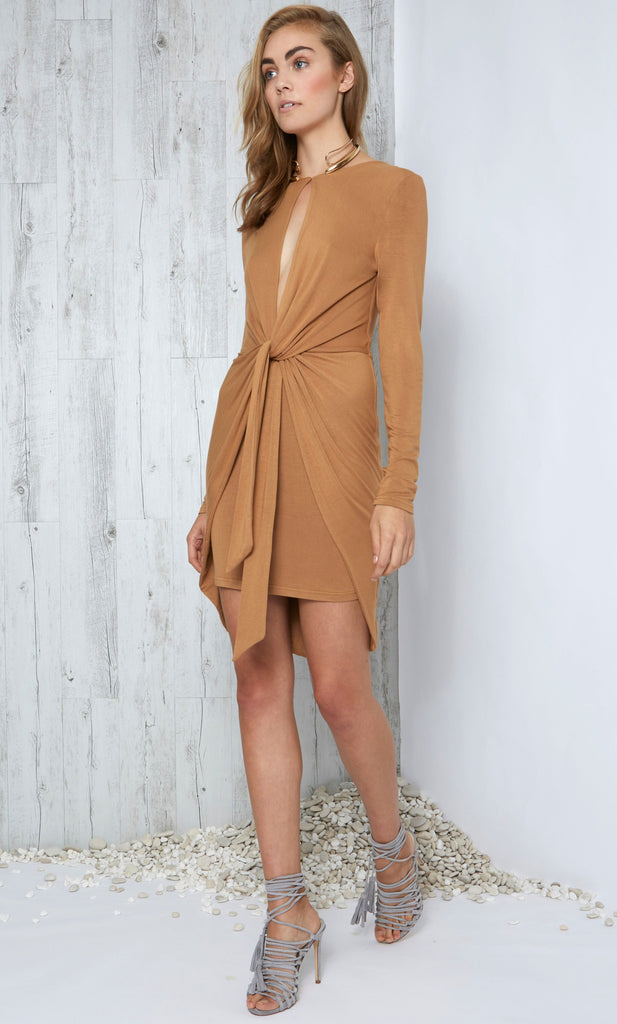Motion L'Sleeve Dress - Tan by Premonition