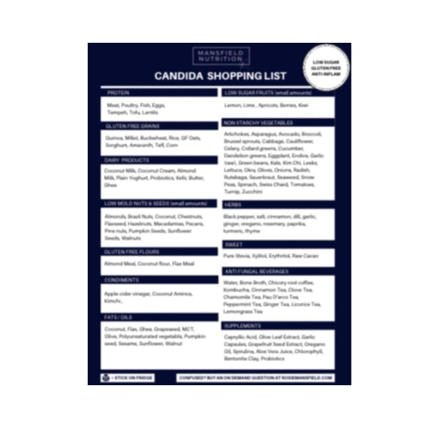 Candida Shopping List - Mansfield Nutrition