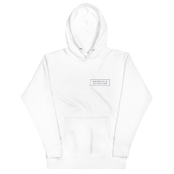 Mansfield Nutrition 'Classic' White/Navy Unisex Hoodie - Mansfield Nutrition