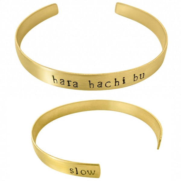 Hara Hachi Bu Collection: Brass Portion Control Cuff Bracelet © - Mansfield Nutrition