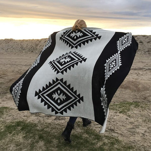 Black Tribal Blanket