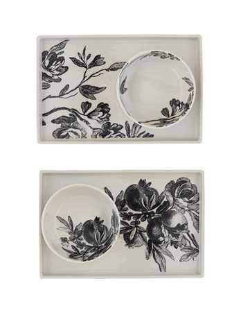 Stoneware Plate with Black Floral Design