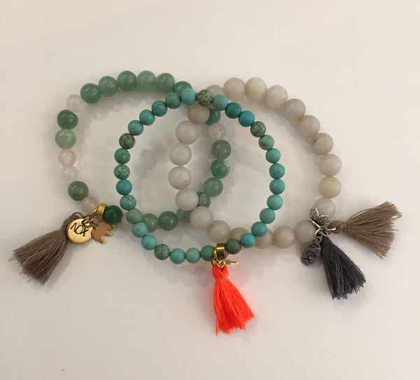 Gemstone Stretch Tassel Bracelet