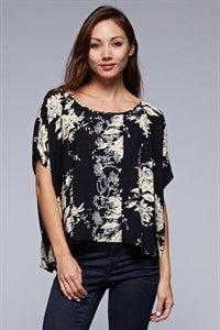 Black Short Sleeved Floral Top with Embroidery