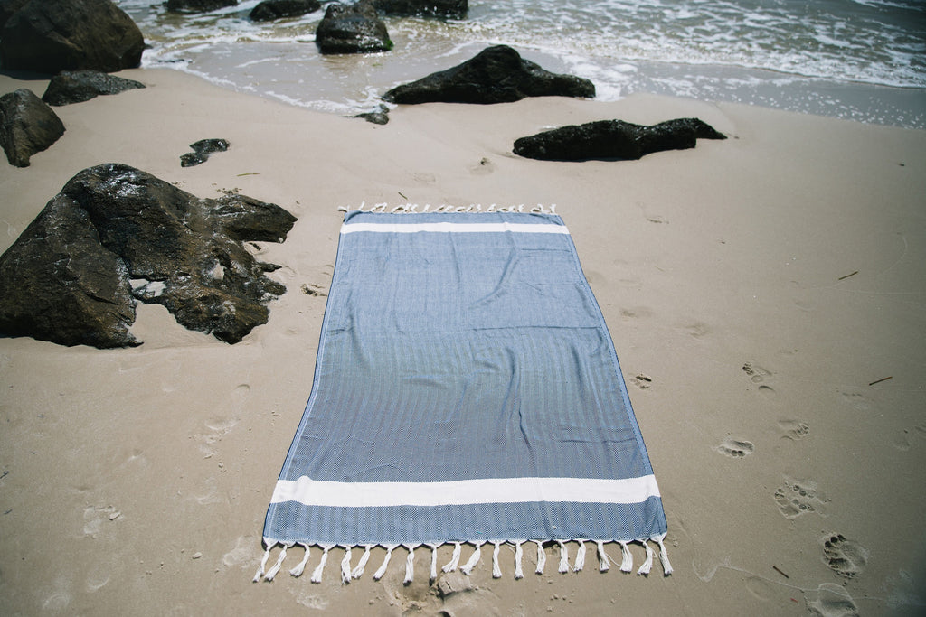 Navy Blue Chevron Beach Towel