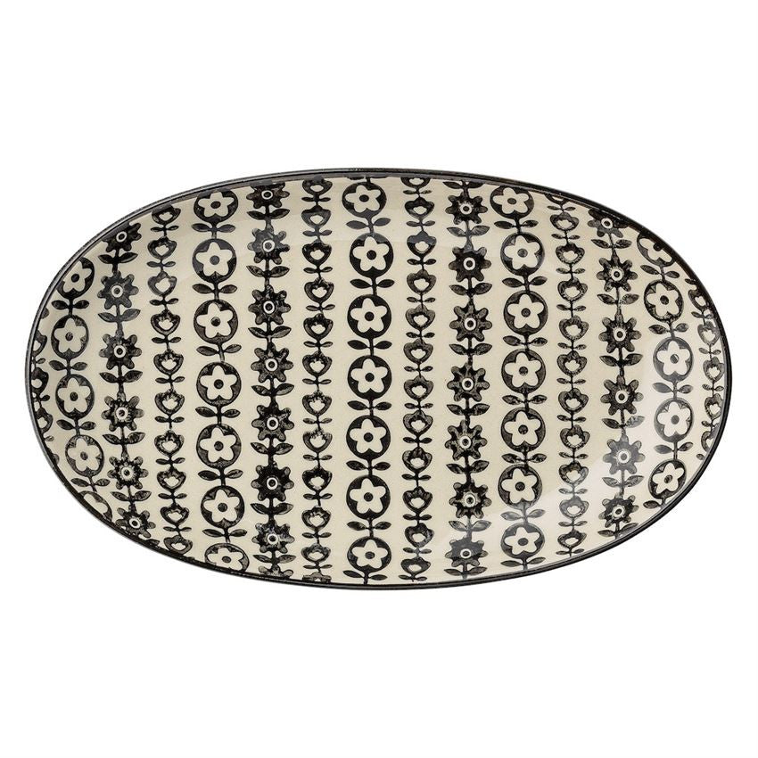 Ceramic Black Floral Printed Oval Plate