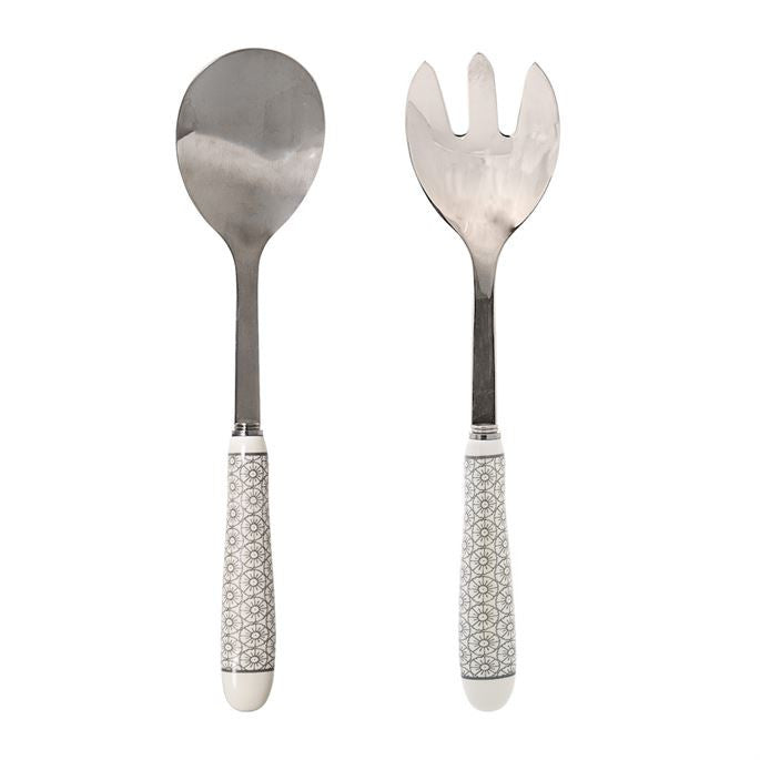 Salad Servers with Grey Print Ceramic Handles