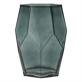 Green Glass Vase with Geometric Shape
