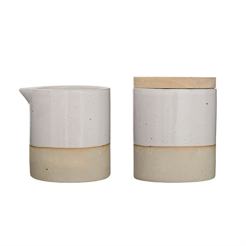 White and Natural Ceramic Cream and Sugar Set