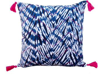 Shibori Indigo Chevron with Pink Tassels Pillow Cover