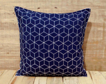 Indigo Embroidered Geometric Pillow Cover