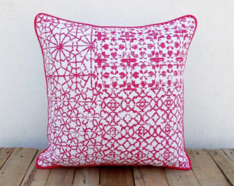 Pink Geometrical Patch Print Pillow Cover