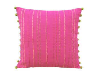 Pink Rice Stich Pillow Cover with Pom Poms