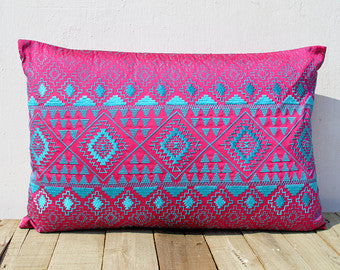 Hot Pink andTurquoise Kilim Embroidered Pillow Cover