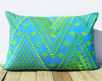 Turquoise and Green Kilim Embroidered Pillow Cover