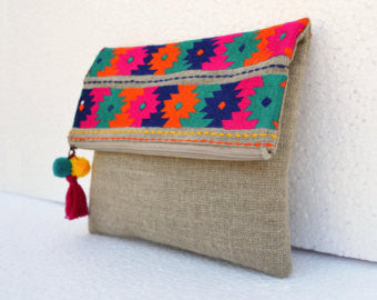 Boho Pouch with Embroidered Kilim Pattern