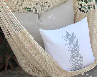 Screen Printed Pineapple Throw Pillow Cover