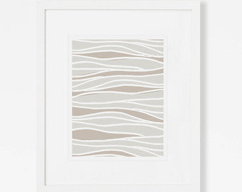 Neutral Abstract Art Print- Waves