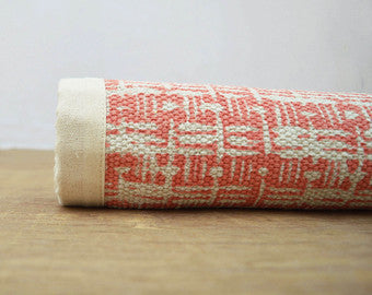 Basket Weave Printed Cotton Rug in Coral