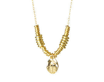 Gold Plated Bronze Leaf and Heishi Layering Necklace