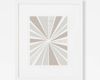 Neutral Abstract Art Print- Sunburst