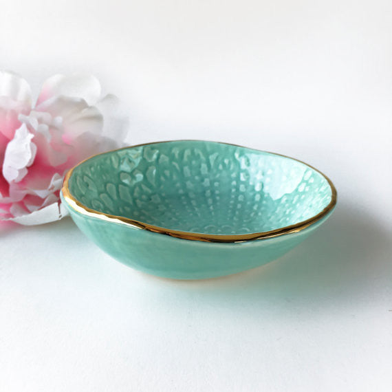 Seafoam and Gold Lace Bowl