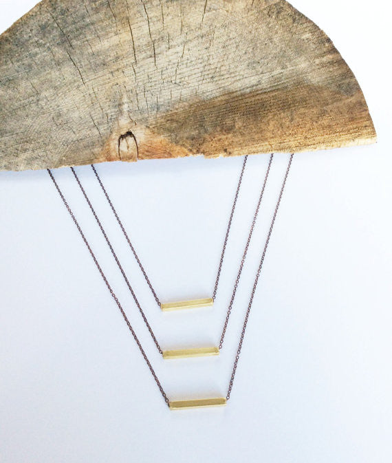 Brass  Square Bar Necklace