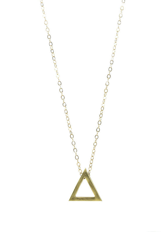 Triangle Charm Necklace in Brass