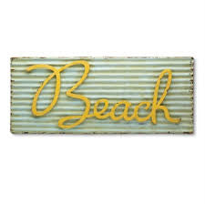 Retro Metal Beach Sign