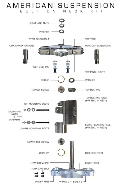 "American Suspension Bolt-On Neck Kit for Softails (26"")"