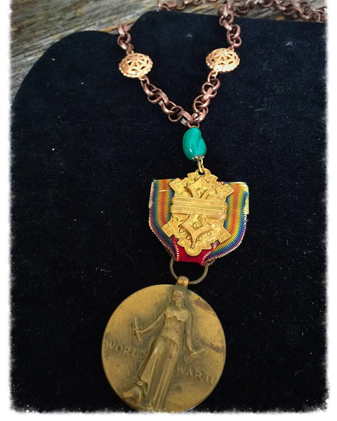 Vintage WW2 Medal Necklace