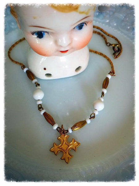 Vintage Glass Bead and Cross Necklace
