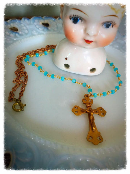 Vintage Glass Rosary Bead Crucifix Necklace