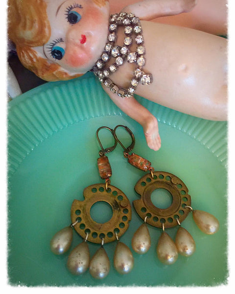Vintage Mailbox and Japanese Glass Earrings