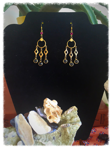 Brass and Swarovski Crystal Earrings