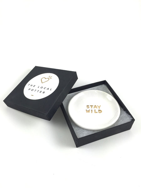 Stay Wild Ring Dish - White