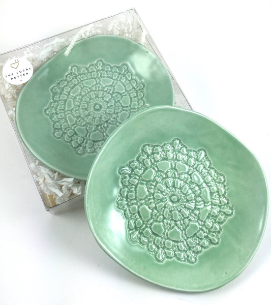 TLP Vintage Lace Jewelry Dish - Turquoise